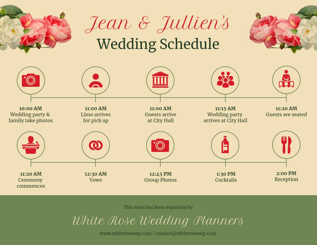 Flower Vintage Wedding Timeline Template