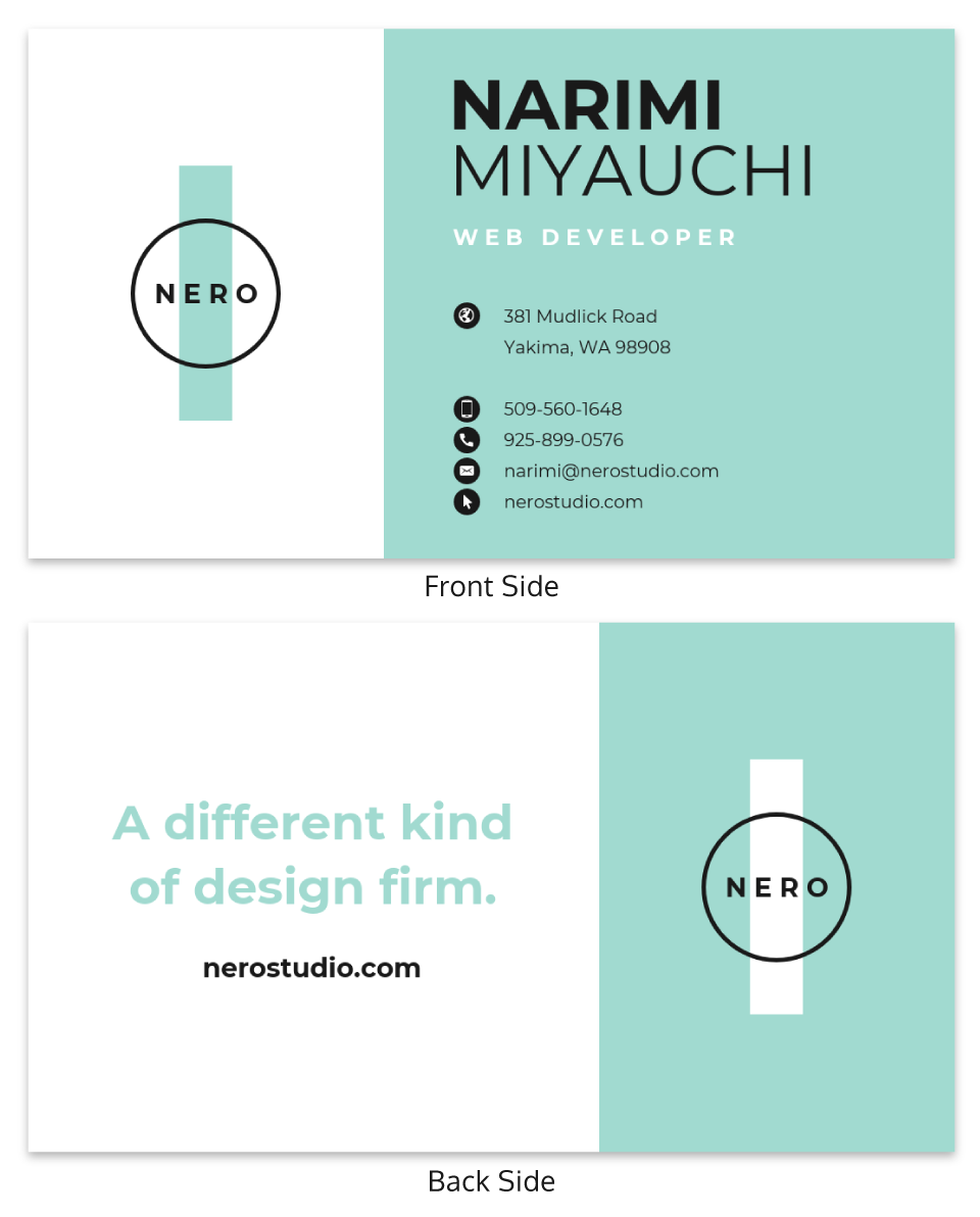 Light Teal Studio Business Card Template