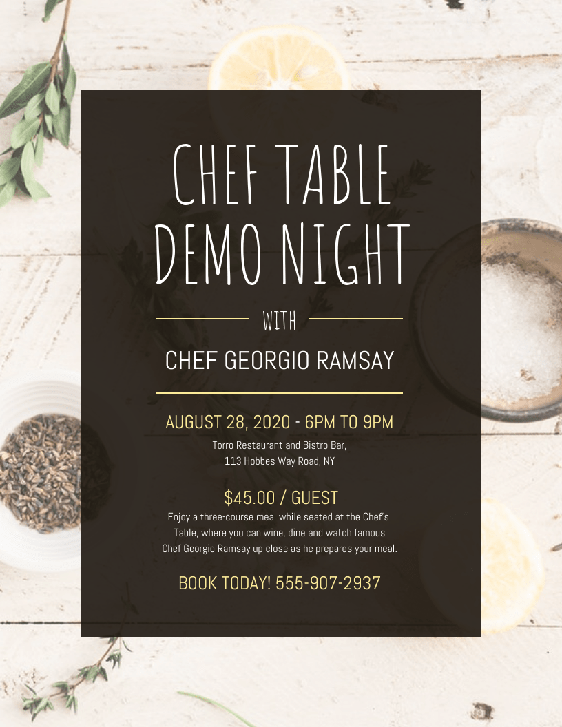 Chef Table Demo Night Event Poster Template