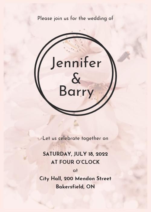 Modern Light Pink Wedding Invitation Template