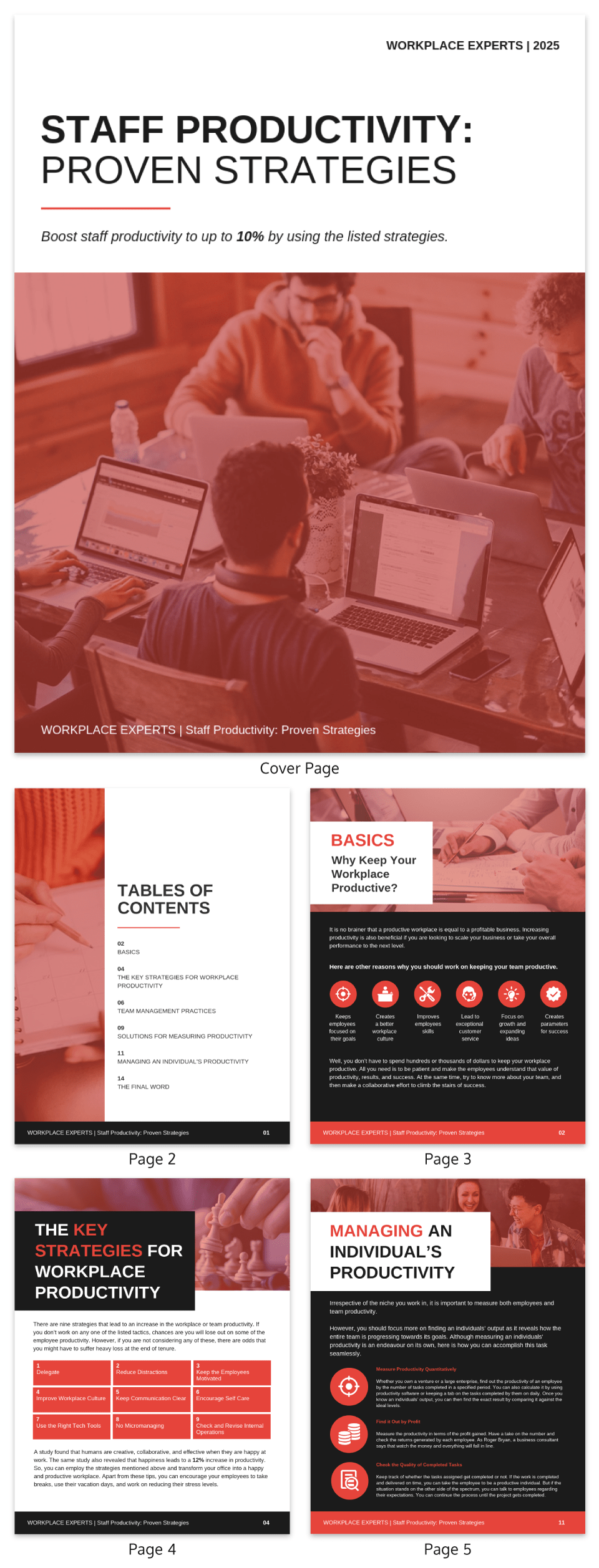 Red Staff Productivity White Paper Template