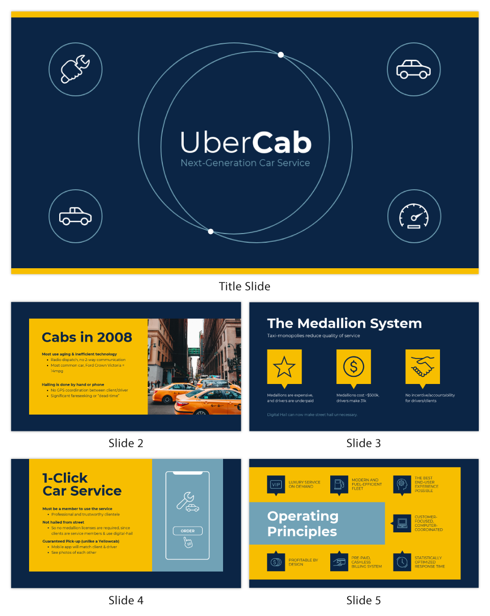 Blue Uber Pitch Deck Template