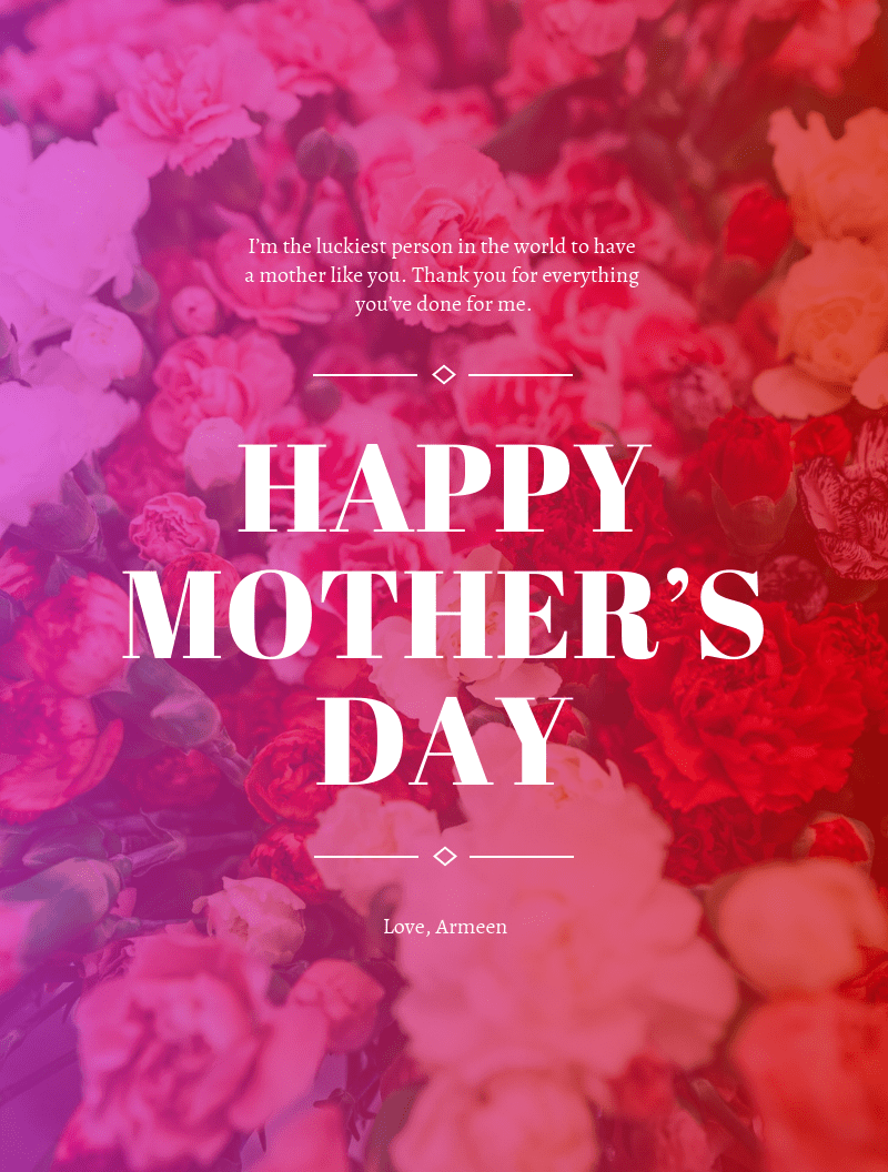 Gradient Happy Mother's Day Card Template