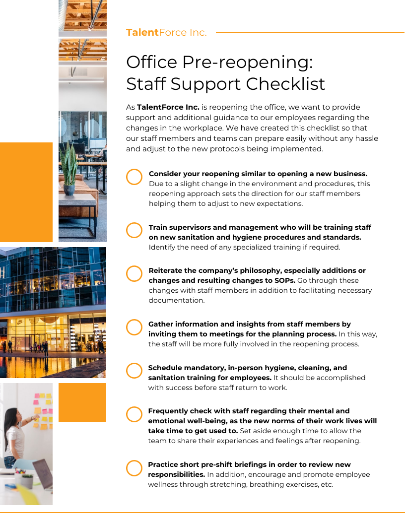 Business Reopening Staff Support Checklist Template