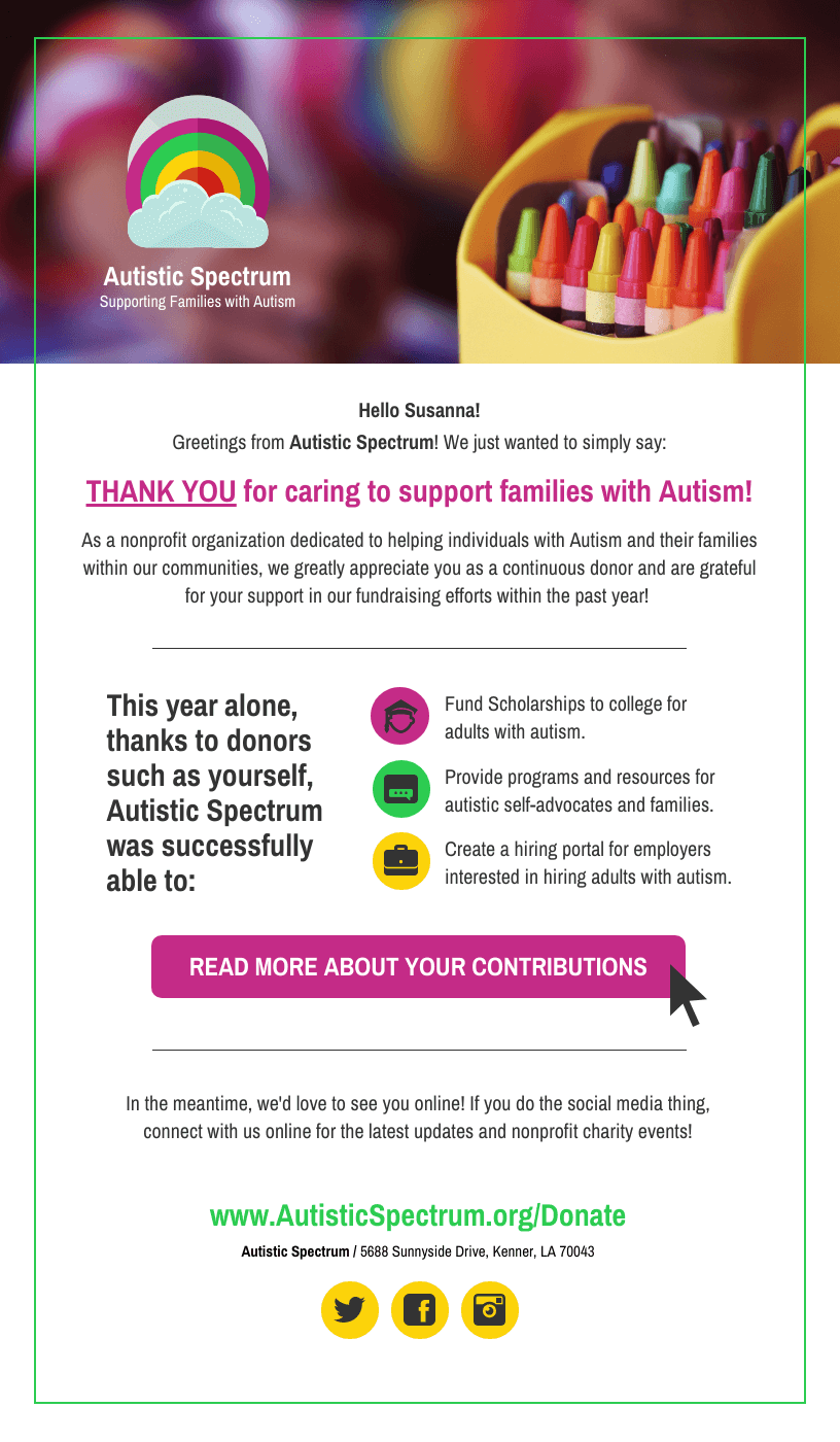 Nonprofit Autism Fundraising Email Newsletter Template