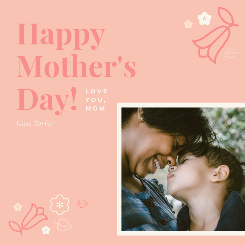 Pink Happy Mother's Day Card Template