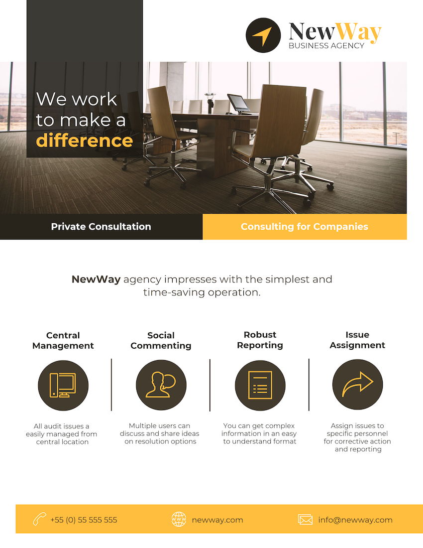 Yellow & Black Consulting Agency Flyer Template