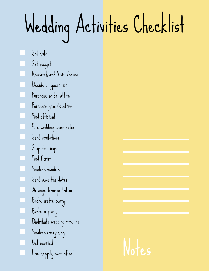 Simple Handwritten Wedding Checklist Template