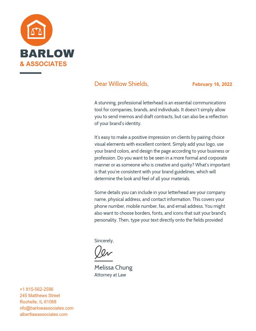 Orange Law Firm Letterhead Template