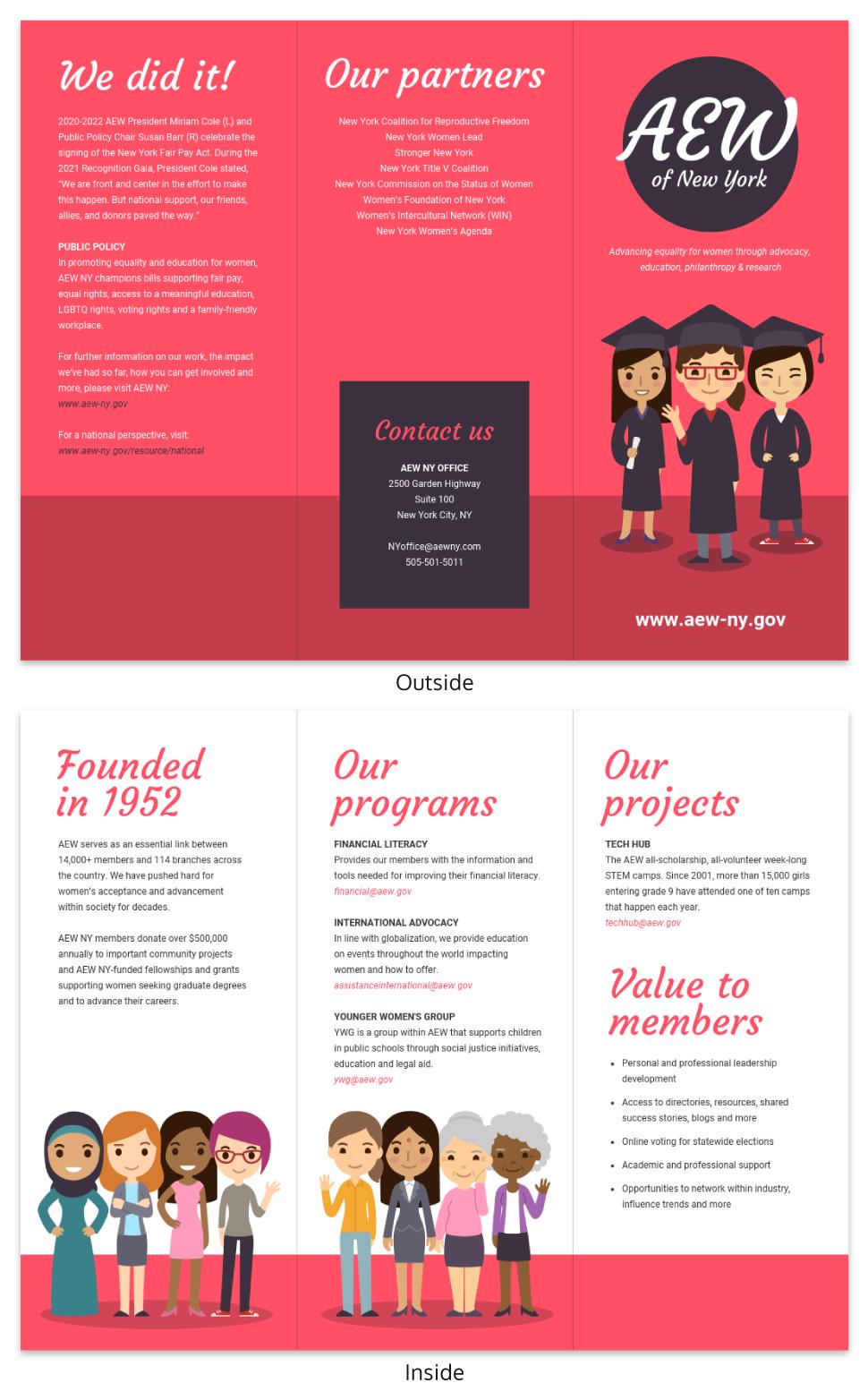 Magenta Non Profit Tri Fold Brochure Template