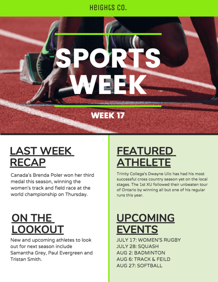 Weekly Sports Newsletter Template