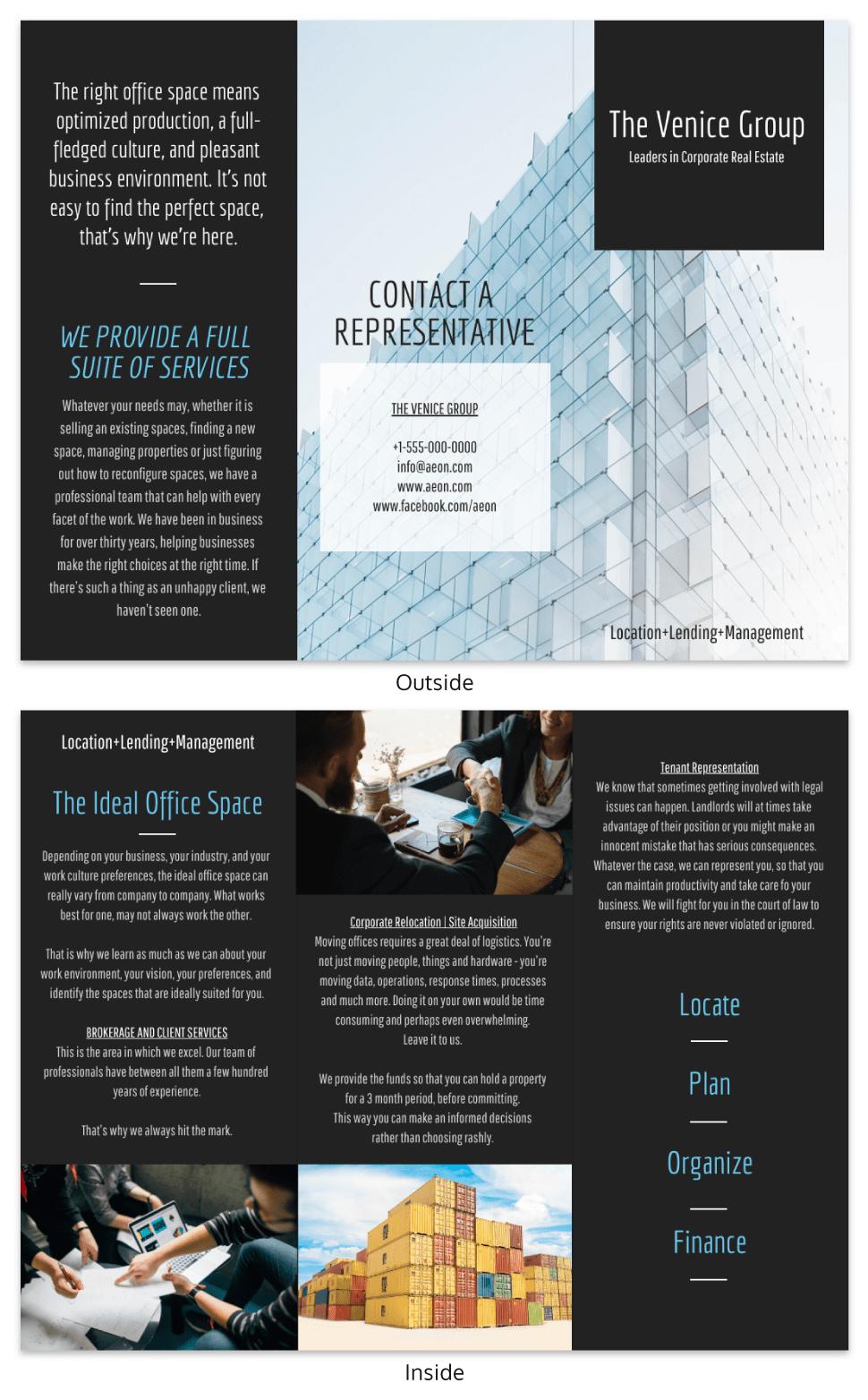 real estate tri fold brochure template venngage