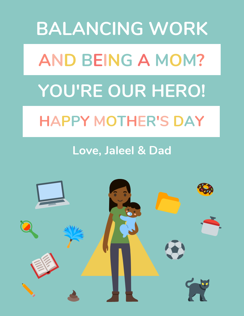 Illustrative Work From Home Mother's Day Card Template