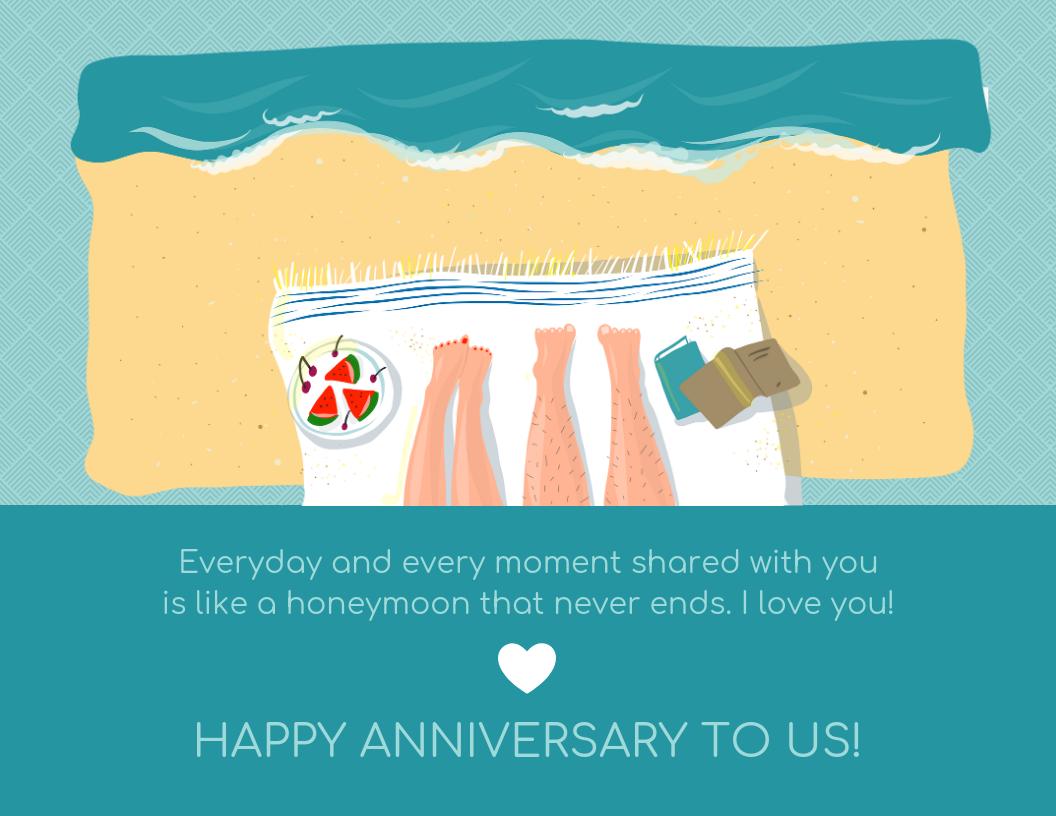 Honeymoon Wedding Anniversary Card Template