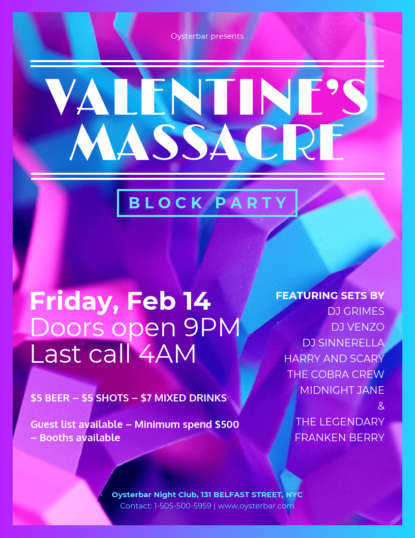 Block Party Valentine's Day Party Flyer Template