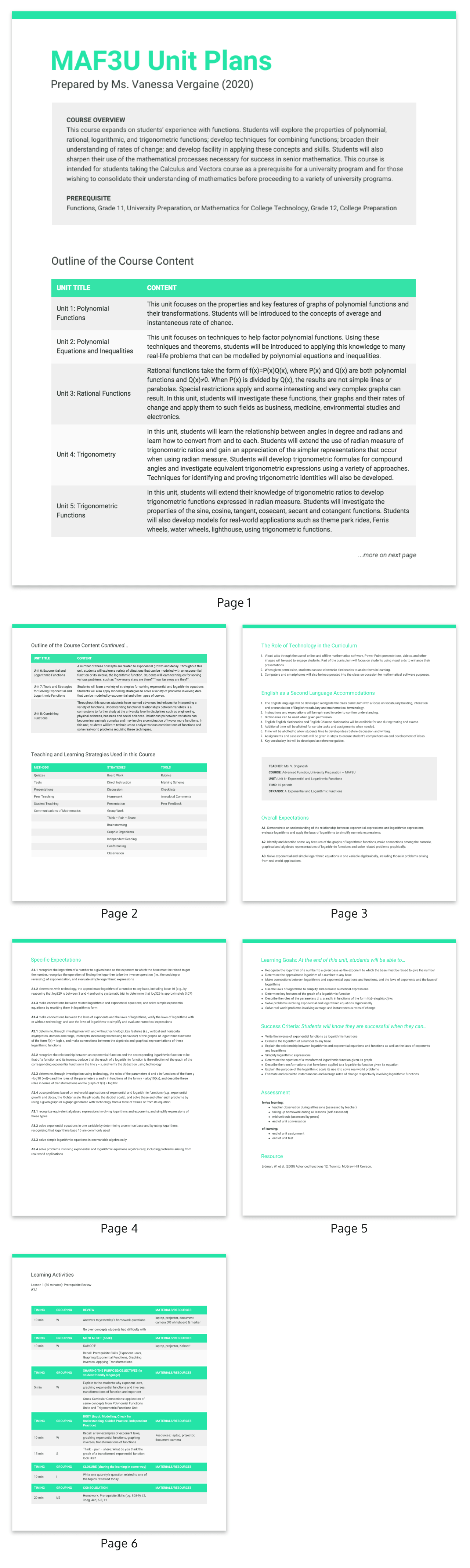 High School Math Lesson Plan Template
