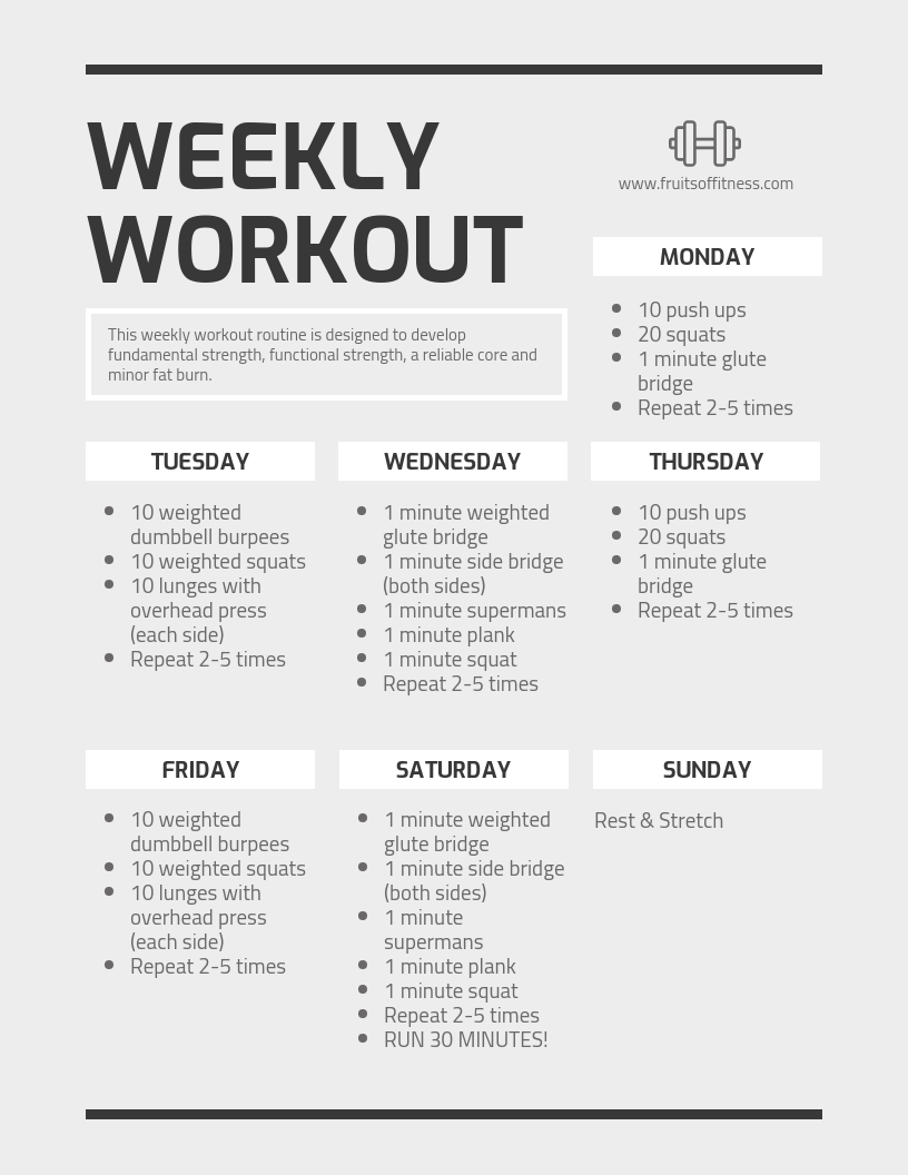 Monochrome Weekly Workout Schedule Template