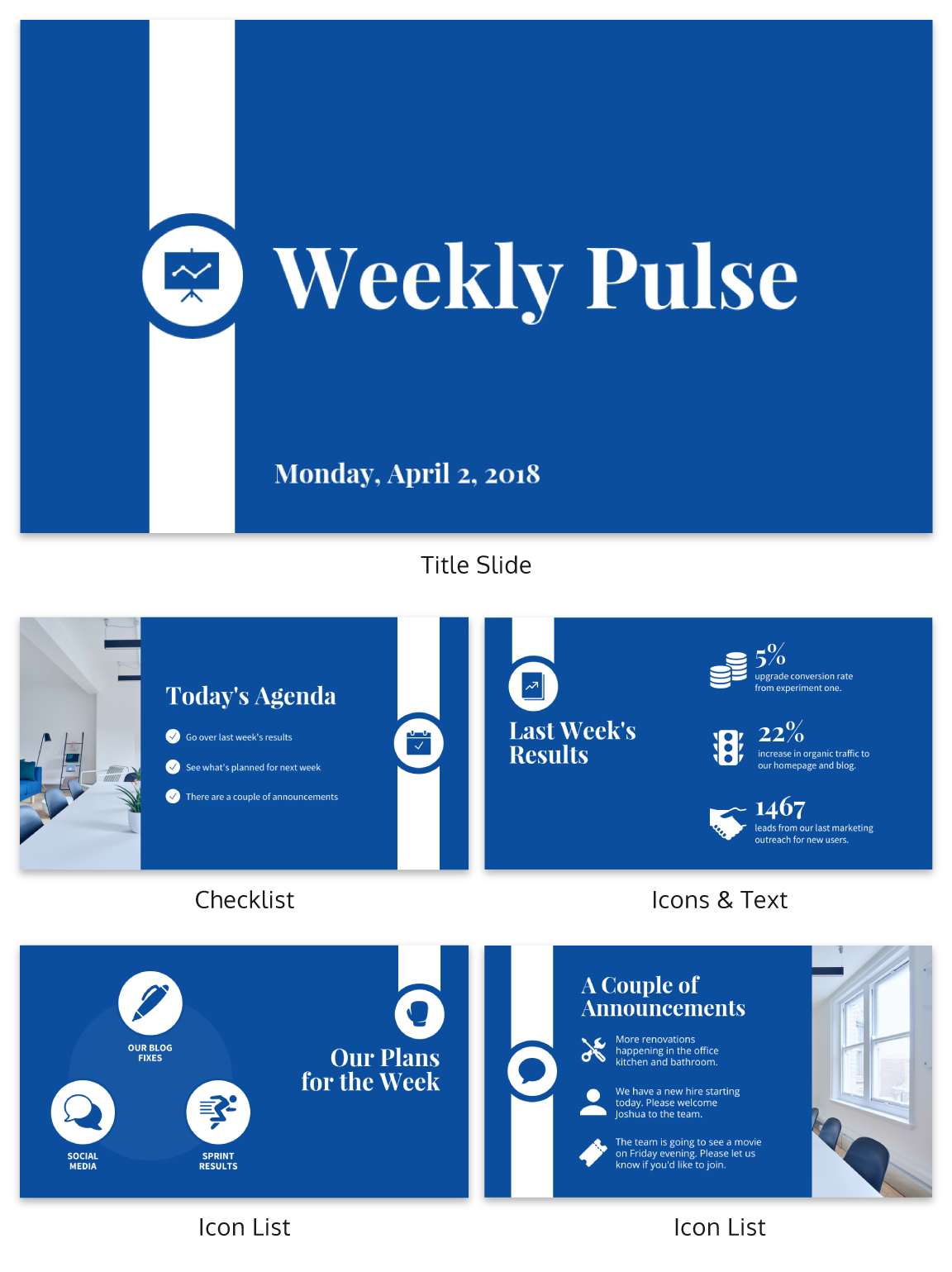 corporate pulse weekly update business presentation template venngage