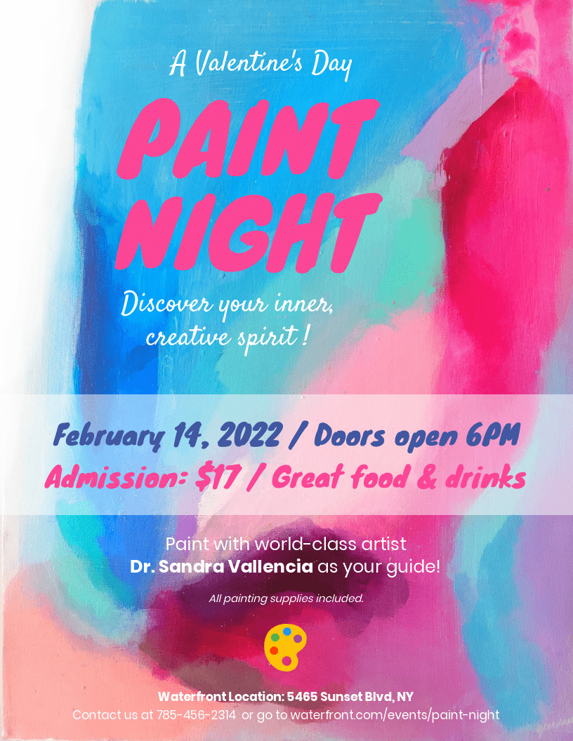 Paint Night Valentine's Day Event Flyer Template