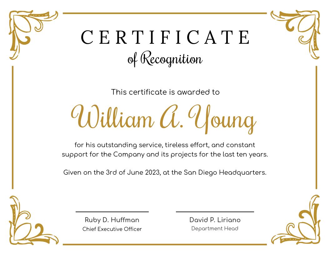 Golden Certificate Of Recognition Template