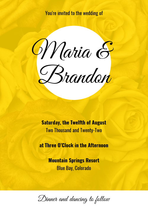Yellow Wedding Invitation Template