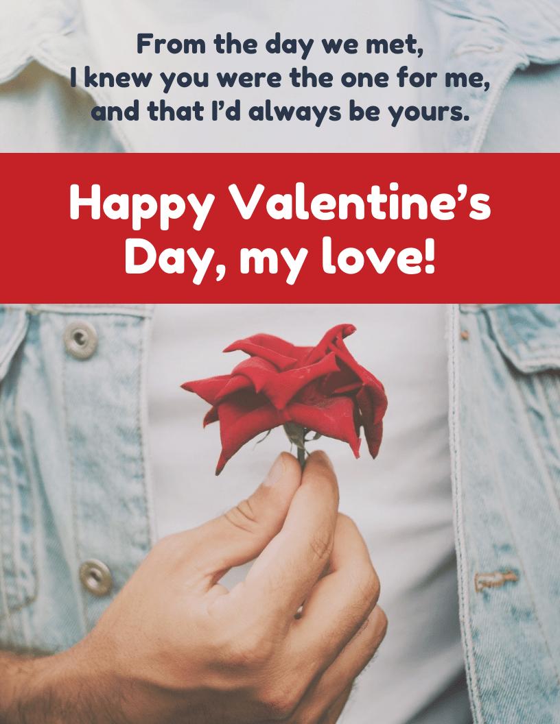 Romantic Photo Valentine's Day Card Template