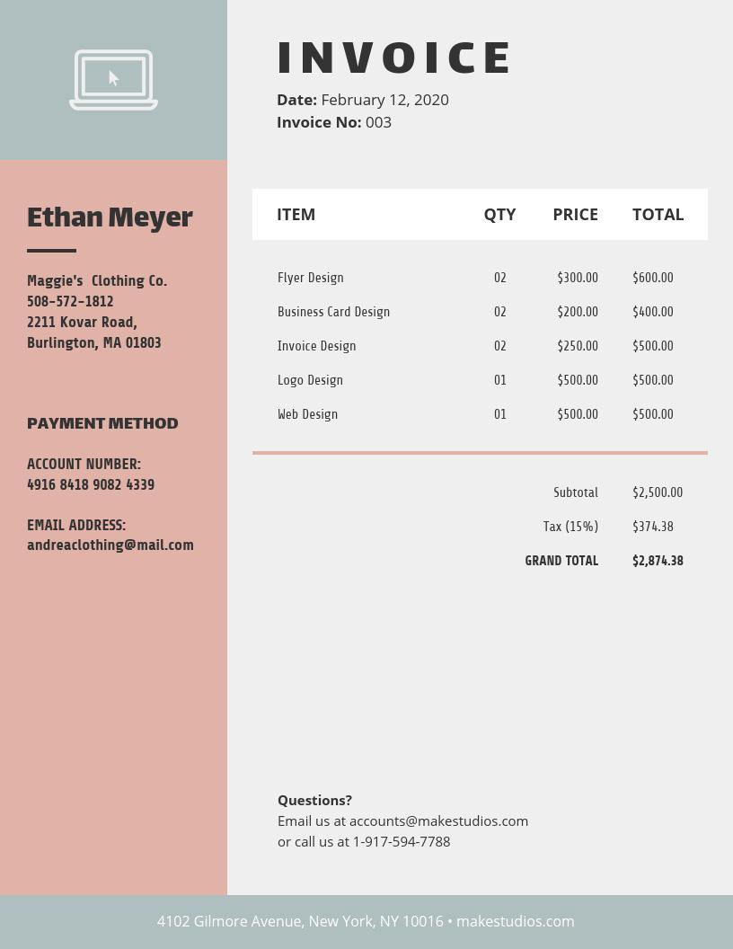 Retro Simple Invoice Template