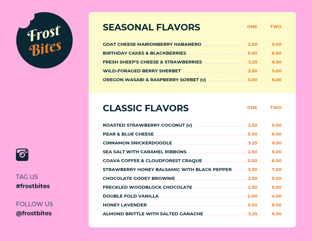 simple ice cream menu template template venngage