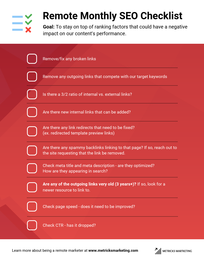 Remote Monthly SEO Checklist Template