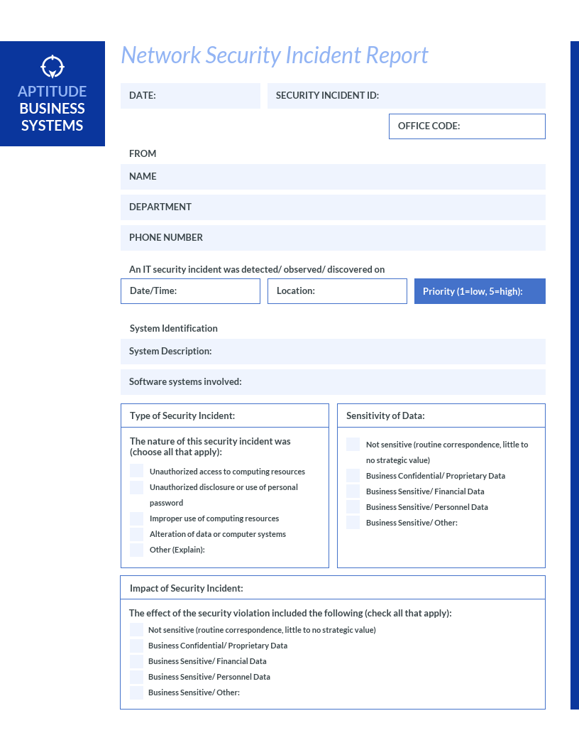 blue it incident report template