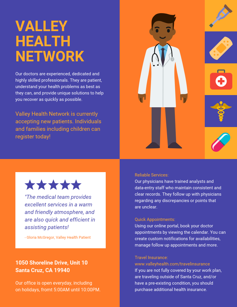 Medical Health Network Pamphlet Template