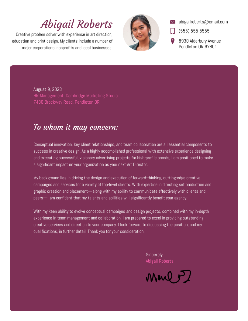 Creative Plum Cover Letter Template