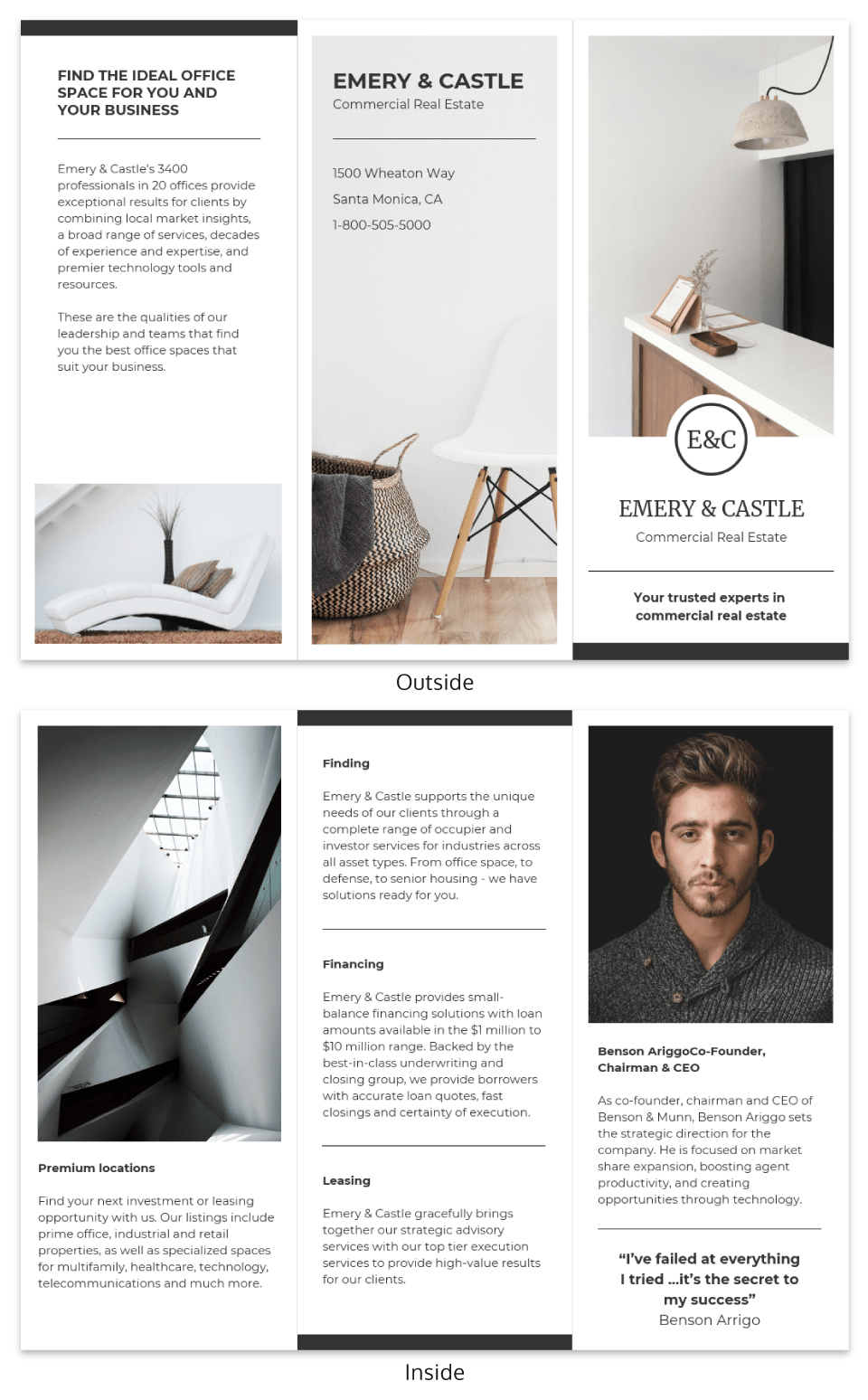 Light Real Estate Tri Fold Brochure Template