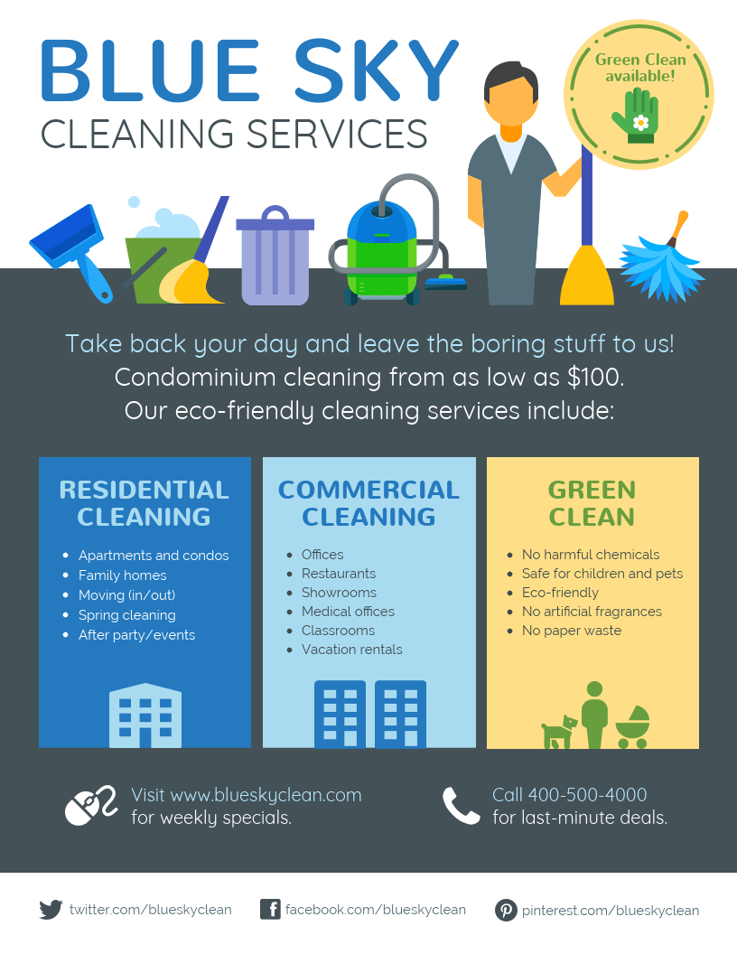 cleaning service flyer template venngage. Black Bedroom Furniture Sets. Home Design Ideas