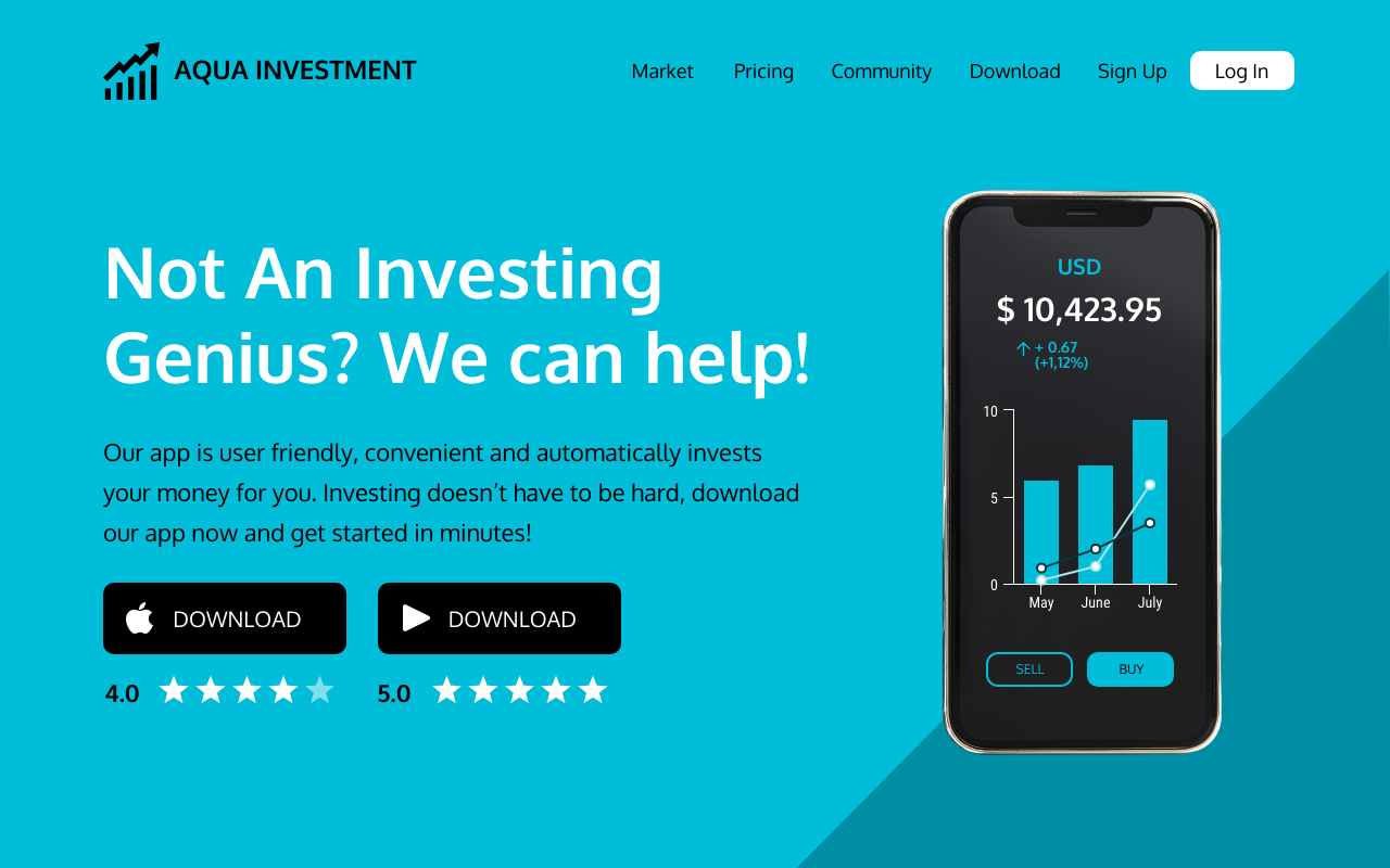 Investment App Landing Page Template