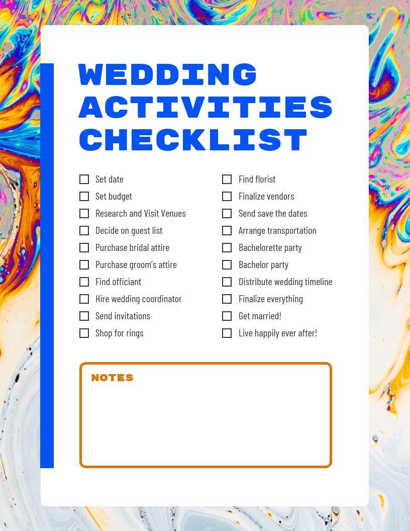 Colorful Modern Wedding Checklist Template