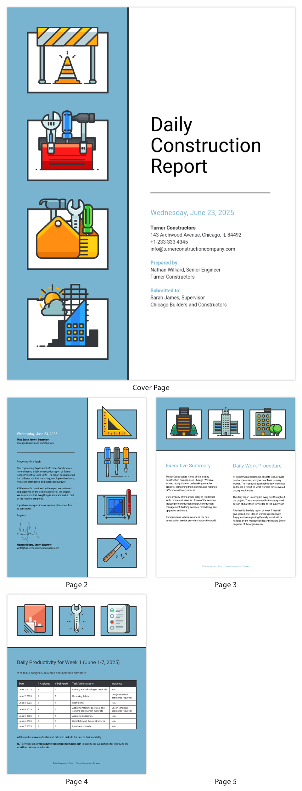 Construction Company Daily Report Template