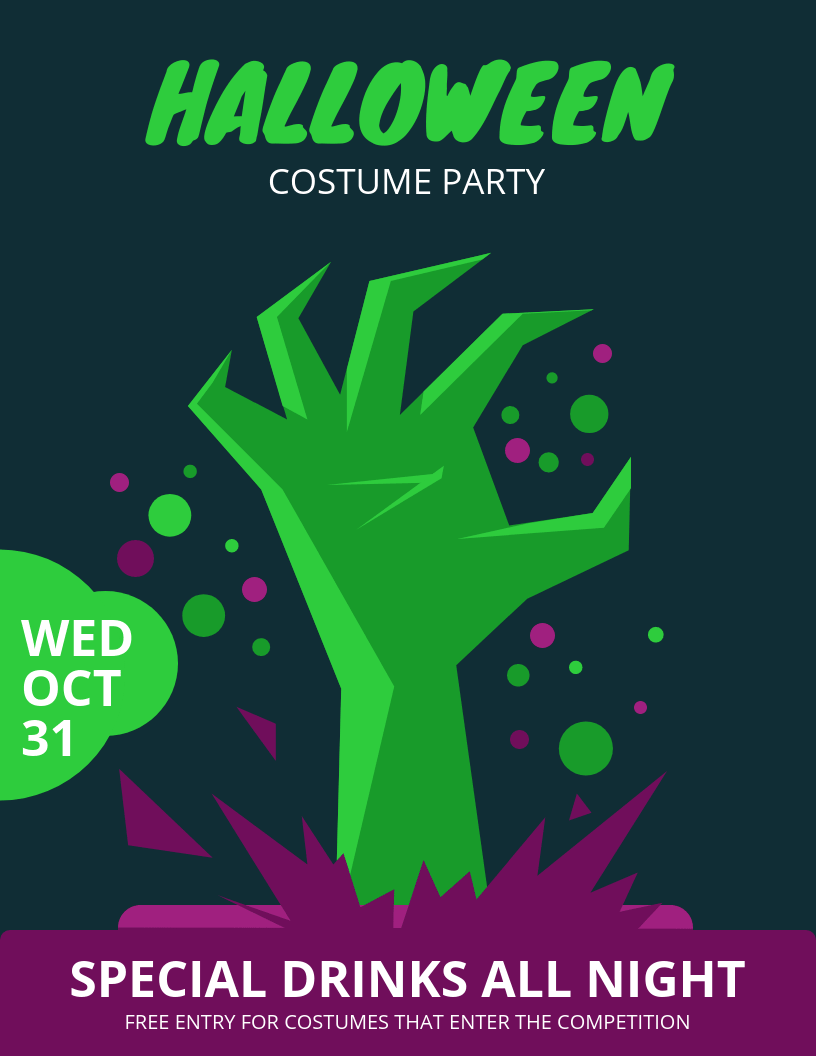 halloween costume party flyer template template venngage