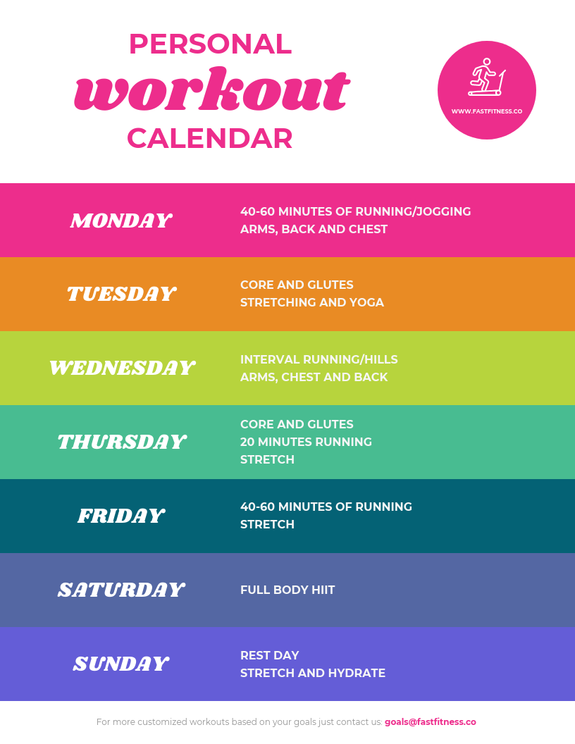 Colorful Weekly Workout Schedule Template