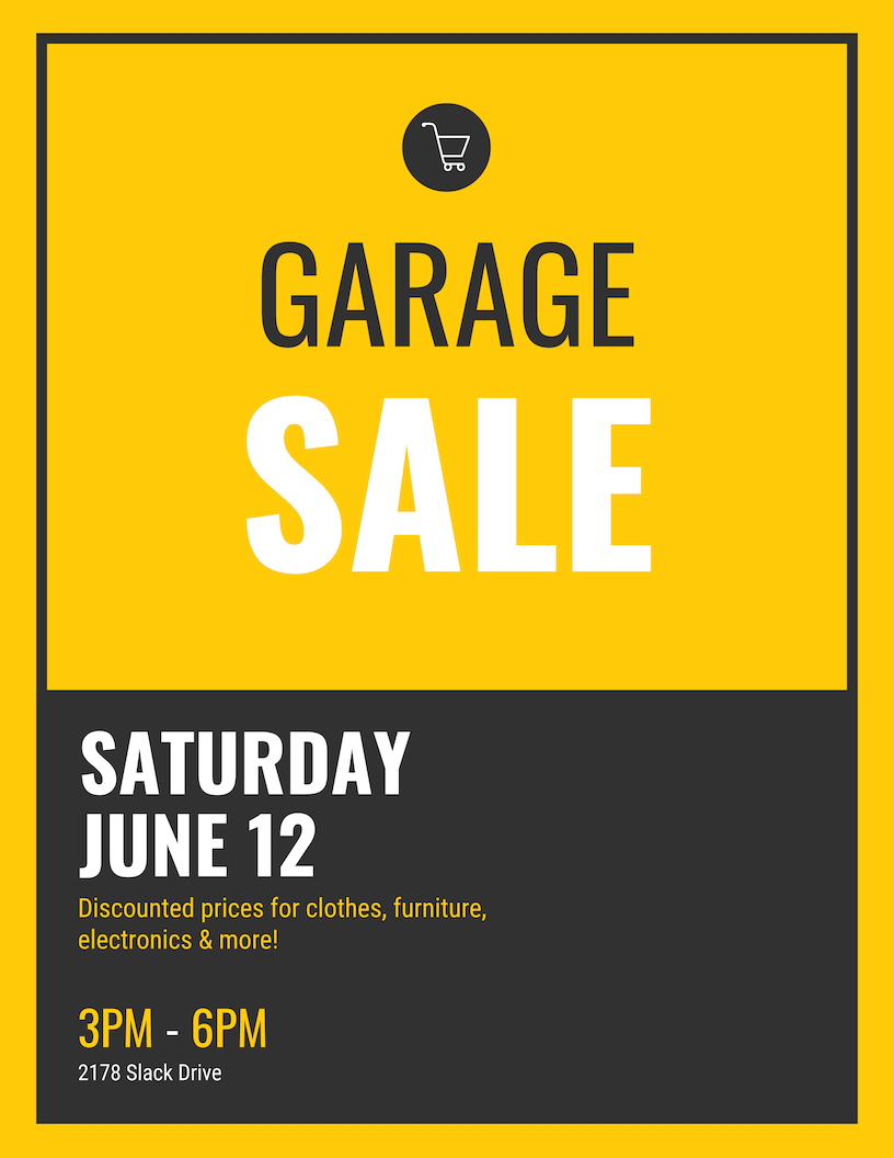Simple Yellow Garage Sale Event Poster Template