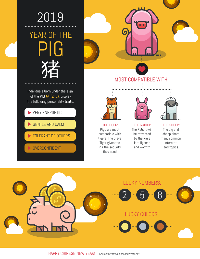 Year of the Pig Zodiac Infographic Template