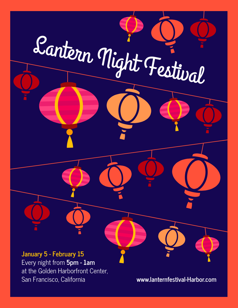 Chinese Lantern Night Festival Event Flyer Template