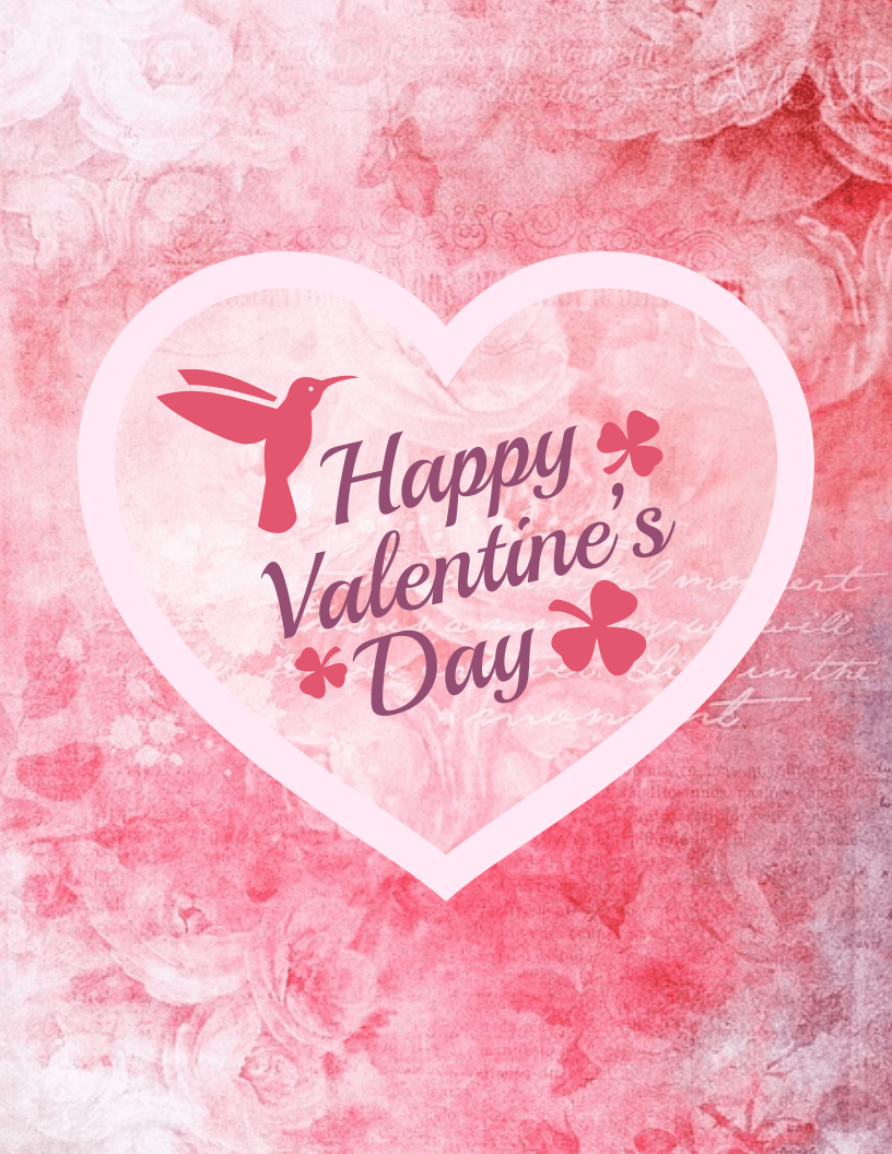 Happy Pink Heart Valentine's Day Card Template