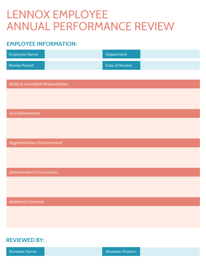 Bright Employee Annual Performance Review Template