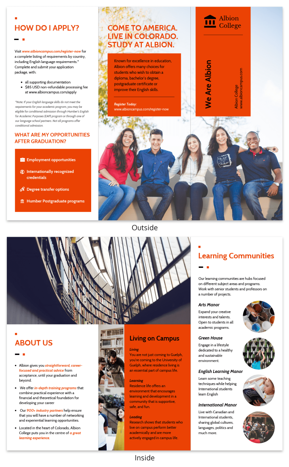 Modern Orange College Tri Fold Brochure Template