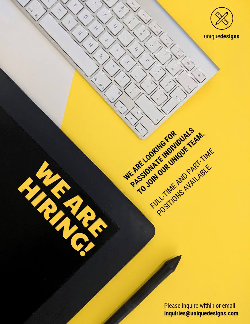 Minimalist Yellow Now Hiring Flyer Template