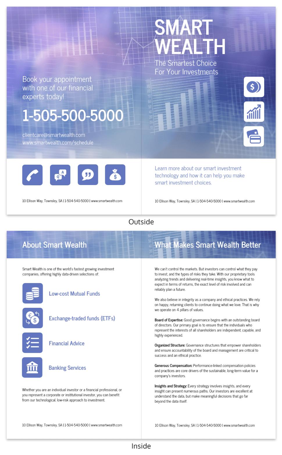 Investment Business Bi Fold Brochure Template