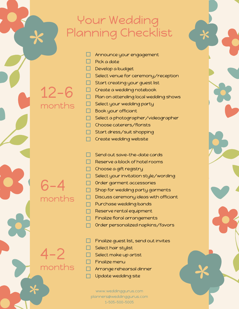 Colorful Floral Wedding Checklist Template