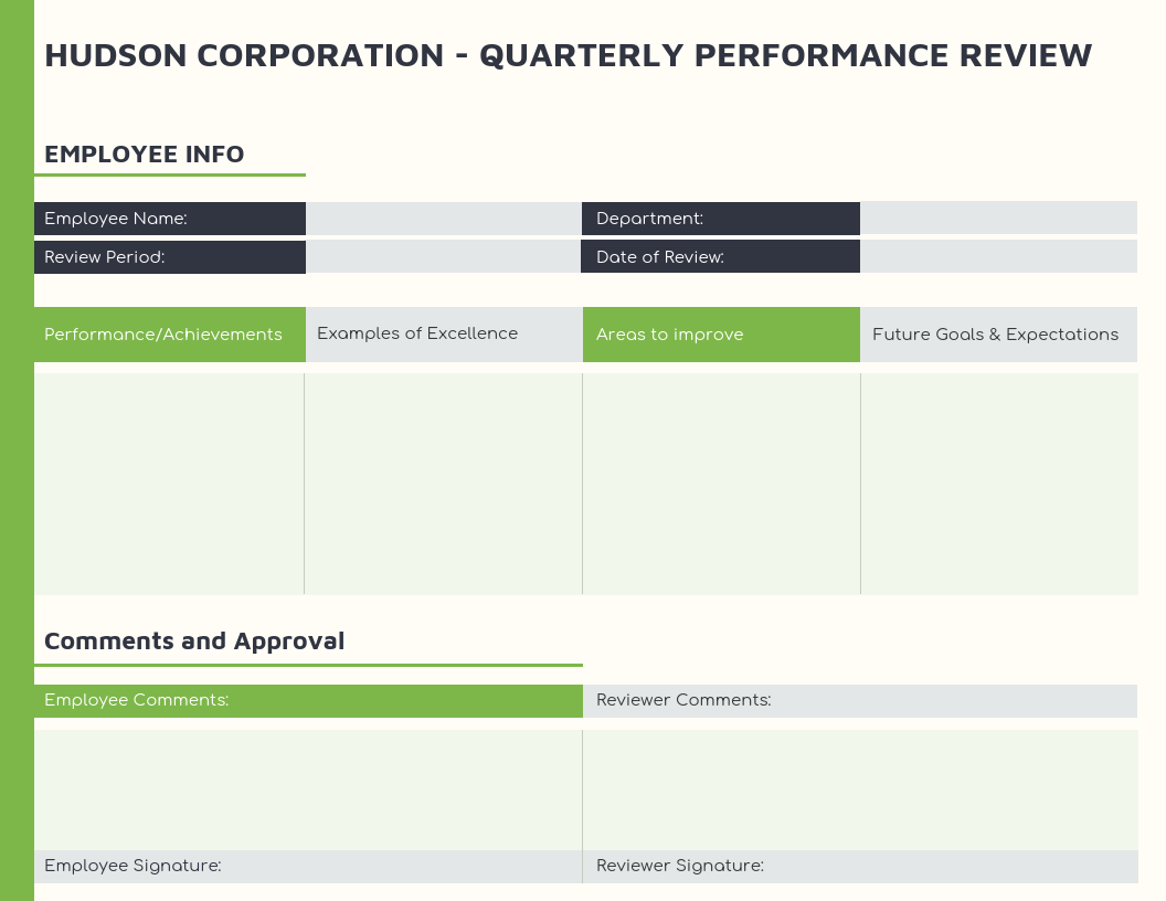 Green Employee Quarterly Performance Review Template