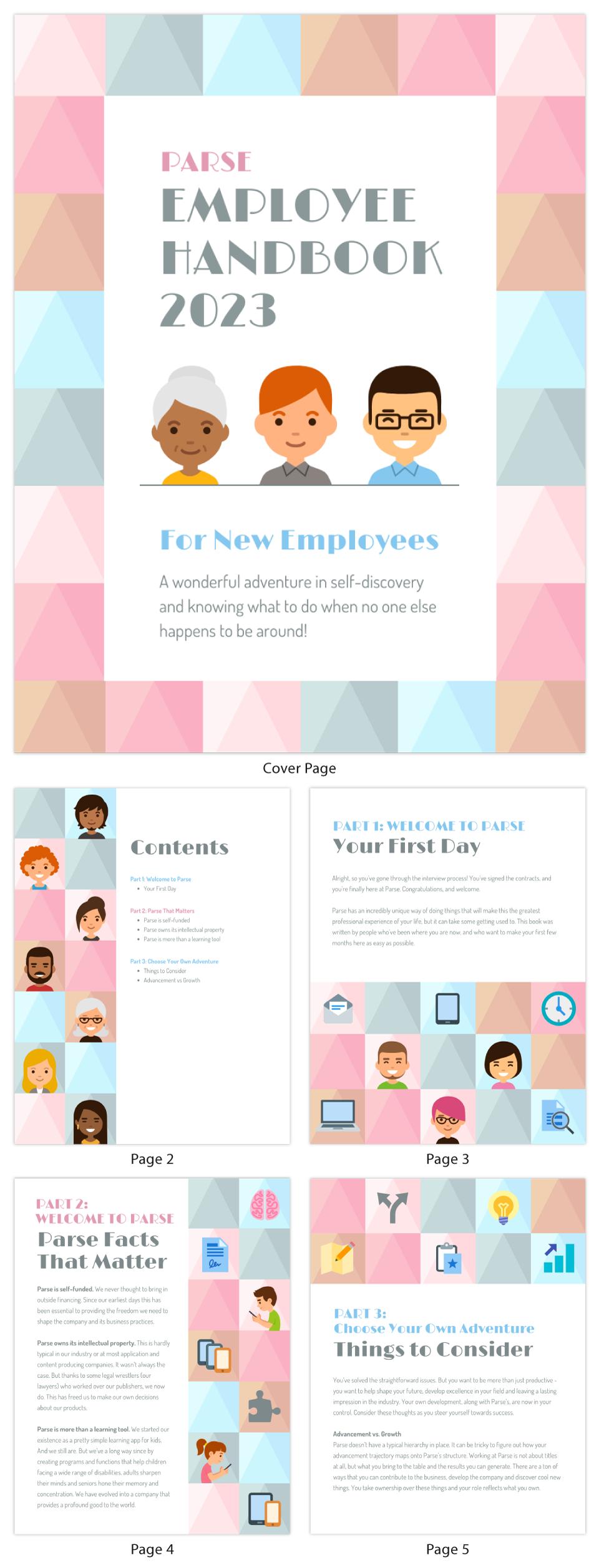 Icon Grid Employee Handbook Template